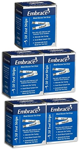 250 Ct Box (Embrace Test Strips Bundle Deal Savings 250 Ct (5 Boxes of 50ct = 250ct Total))