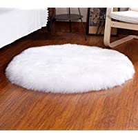 Fluorodine Round Faux Fur Sheepskin Shaggy Area Rugs White 19.7in Diameter