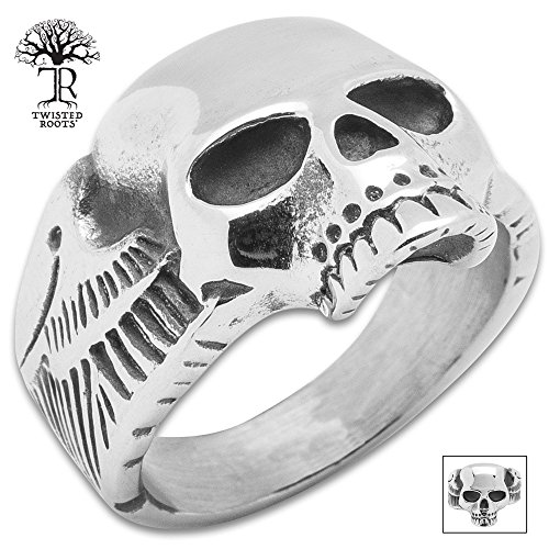 K EXCLUSIVE Twisted Roots Winged Skull Ring - Size 11 (Winged Ring Skull)