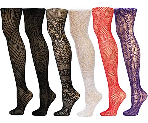 Frenchic Fishnet Women's Lace Stockings Tights Sexy Pantyhose Extended Sizes (Pack of 6) … (Small/Medium, 1008 Colors)