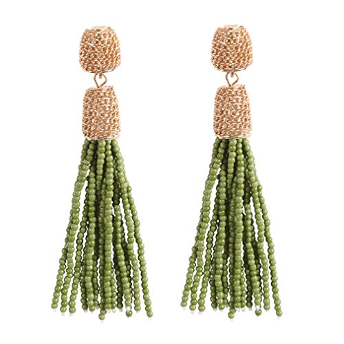 VK Accessories Bead Fringe Dangle Earrings Soriee Drop Earrings Beaded Tassel Ear Drop 3 Colors (oliver green) Green Colour Beads Earrings