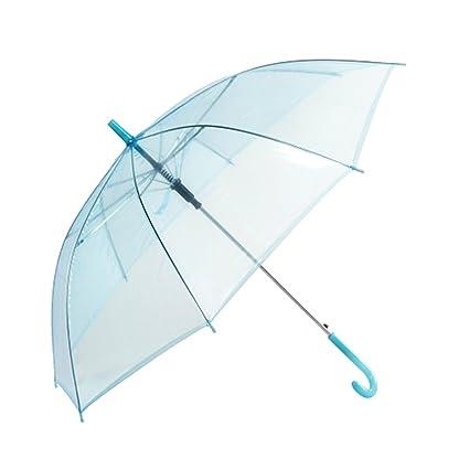 Paraguas Transparente Long Mango Color sólido Creative Princess Umbrella Semi-automática Paraguas Medioambiental Thicker (