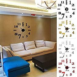 Yunhany Direct Large 3D Mirror Wall Clock Sticker,Number Acrylic Modern Adhesive for Office Kitchen Bedroom Home Decor Unique Gift (Color : Silver)