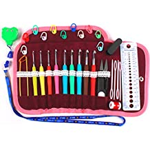 """Crochet Hooks Soft Handle Kit Pink Piping Wrapped Around a Gorgeous Plum Velveteen Lined Lace Accented Easy-Open Snap Tri-Fold Clutch - Crochet Set Complete with (Scissors, Stitch Markers, Gauge Measure, Yarn Needles, 4.5"""" Safety Pin, Row Counters) - Lifetime Replacement Guarantee"""