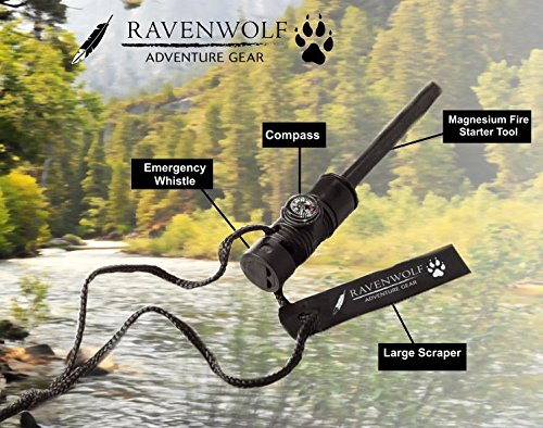 RAVENWOLF Survival Magnesium Fire Starter with Emergency Whistle & Compass