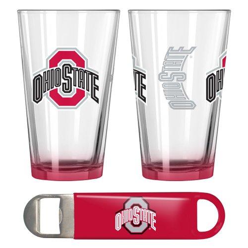 Ohio State Buckeyes Elite Pint Glasses & Beer Opener Set | NCAA OSU Buckeyes Gift Set For Sale