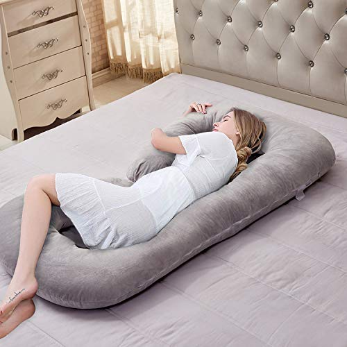 VECELO C-Shaped Pregnancy Full Maternity Pillow with Zipper Removable Cover, Body Pain Relief, Gray