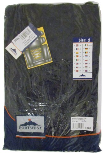Portwest Action Trousers Polycotton Reinforced Multiple-pockets Tall 40in Navy Ref S887TALLNAVY40