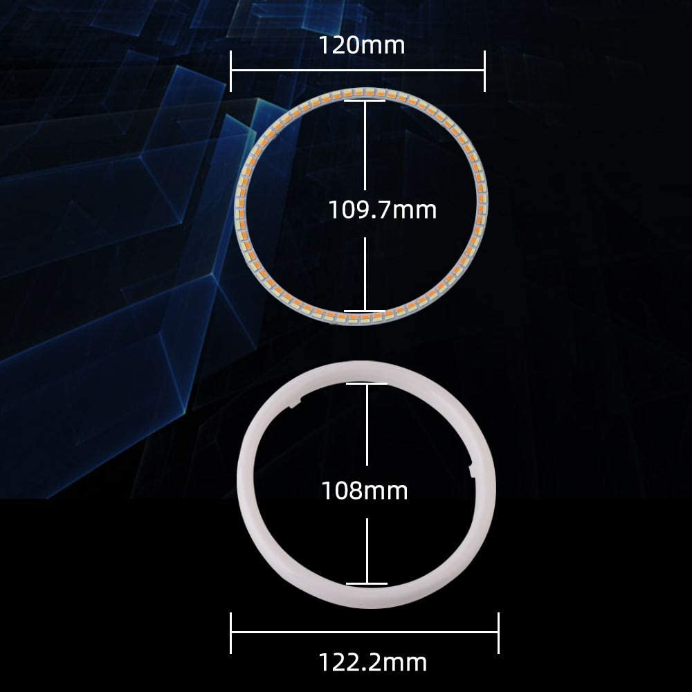 Qasim 1 pair of LED Angel Eyes Halo Rings 120MM 4.72/'/' White+Amber Switchback for Car Motorcycle Headlight DRL Fog Light 4014 144SMD DC12V