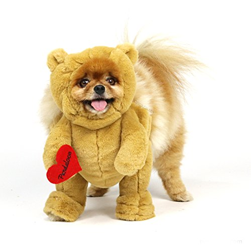 Pandaloon Brown Teddy Bear Dog and Pet Costume Set - Walking Teddy Bear with Arms (Size 2 (15-17 in Total Height), Teddy Bear (Brown))]()