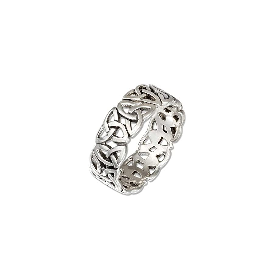 Sterling Silver Triquetra Trinity Knot Celtic Ring