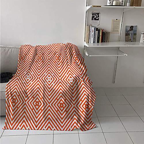 (Maisi Lightweight Blanket, Rhombuses in Bullseye Pattern with Herringbone Zigzag Stripes, Throw Blanket for Kids 50x30 Inch Burnt Orange and White)