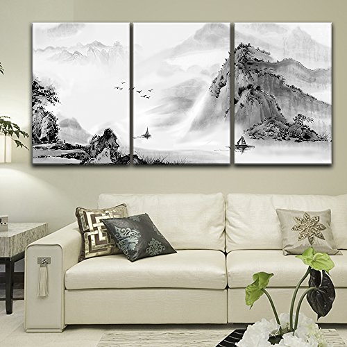 3 Panel Chinese Ink Painting Style Mountain and River x 3 Panels