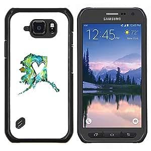 LECELL--Funda protectora / Cubierta / Piel For Samsung Galaxy S6Active Active G890A -- blanco de menta verde azulado minimalista primavera corazón --