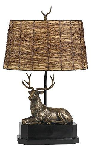 Cast Bronze Deer 1 Light Table Lamp with Twig Shade (Twig Deer)