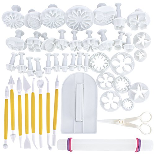 47 pcs Fondant Cutters Tools Sedhoom Catalina Fondant Molds Cake Decorating Supplies Tool Set with Rolling Pin Smoother Embosser Moulds by Sedhoom (Image #1)