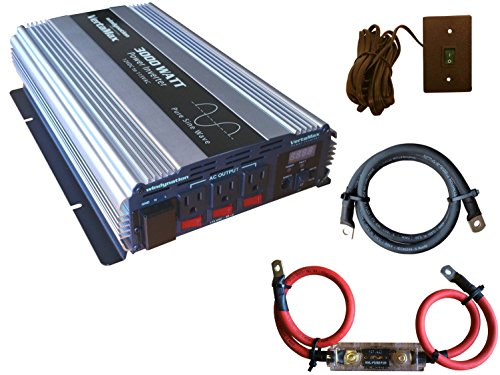 VertaMax PURE SINE WAVE 3000 Watt (6000W Surge) 12V Power Inverter DC to AC Power (1/0 Cables + Remote Control Switch + ANL Fuse) - Solar, RV