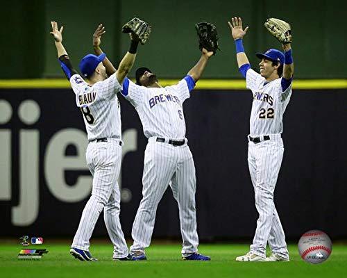 Ryan Braun, Lorenzo Cain, Christian Yelich 2018 Milwaukee Brewers Action Photo (Size: 8