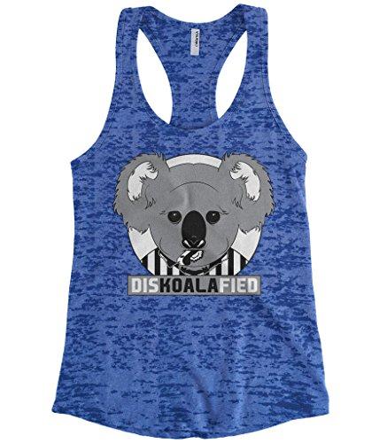 Cybertela Women's DISKOALAFIED, Koala Bear Referee Burnout Racerback Tank Top (Royal, Large)