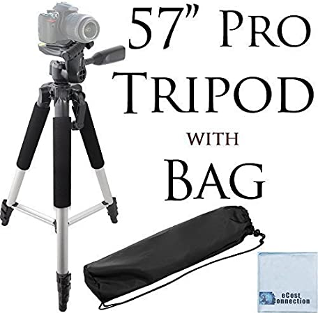 72 Inch Elite Series Full Size Camera Tripod for DSLR Cameras//Camcorders Large Soft Padded Camcorder Equipment Case /& eCostConnection Microfiber Cloth
