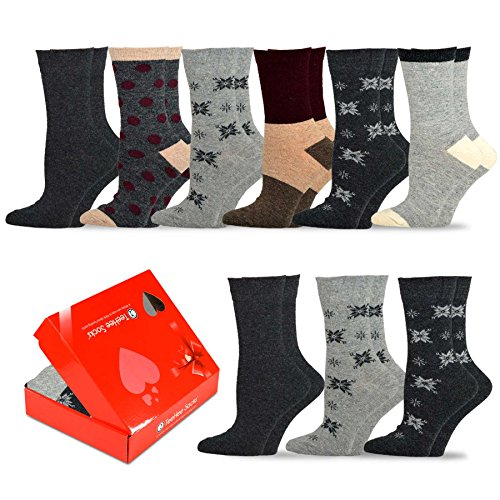 9ct Box (TeeHee Winter Crew Fun Socks for Women 9-Pack with Gift Box (9-11, Wool Basic))