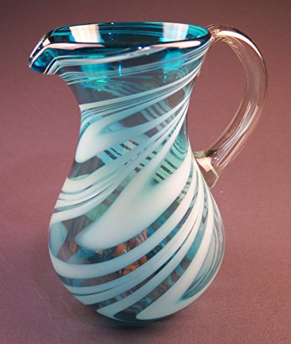 Hand Blown Mexican Glass Pitcher, Turquoise White Iridescent Swirl Design, 2 quarts