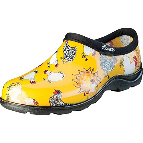 Sloggers 5116CDY09 Chicken Print Collection Women's Rain & Garden Shoe, Size 9, Daffodil Yellow 5116CDY09