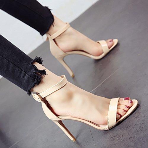 Sexy Señoras de Temperamento Verano Dedos Boca Superficial Altos Zapatos Sandalias Parte y de Personalidad b Banquete tacón Finas y Tacones YMFIE PFqEAxnwdw