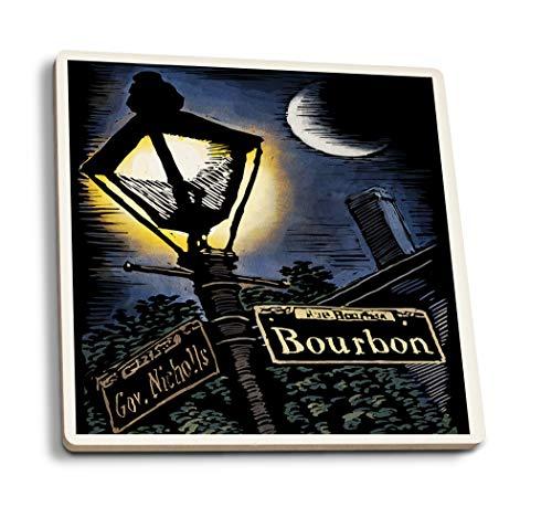 Lantern Press New Orleans, Louisiana - Bourbon Street Lamppost - Scratchboard (Set of 4 Ceramic Coasters - Cork-Backed, (Orleans Post Lantern Set)