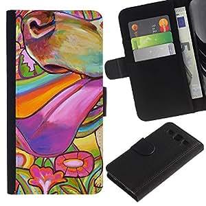 All Phone Most Case / Oferta Especial Cáscara Funda de cuero Monedero Cubierta de proteccion Caso / Wallet Case for Samsung Galaxy S3 III I9300 // Painting Colorful Dog Muzzle Summer