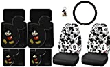 8pcs Mickey Mouse Vintage Front High Back Seat Covers Front Rear Rubber Floor Mats Steering Wheel Cover Key Chain Set