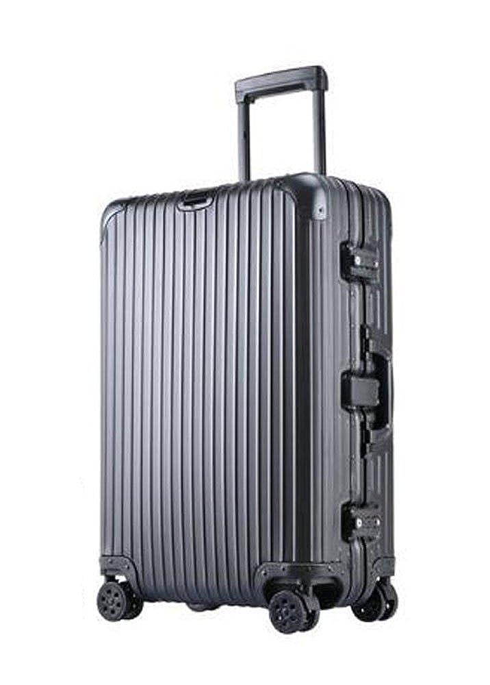 S-cas022 20/25/29インチ スーツケース アルミ製 キャリーケース 旅行トランク 旅行必須品 25インチ ブラック B077HSX7QS