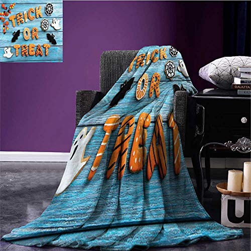 RenteriaDecor Vintage Halloween Throw Blanket Trick or Treat Cookie Wooden Table Ghost Bat Web Halloween Plush Throw Blanket Blue Amber Multicolor Bed or Couch 90