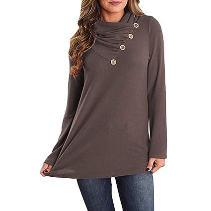 Women Long Sleeve T Shirt Button Cowl Neck Blouse Casual Teen Pockets Tops S-2XL