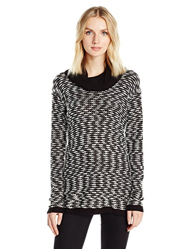 Calvin Klein Women's Textured Solid Cowl Neck Sweater, Black/White EL, L (Neck Solid Sweater Cowl)