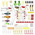 Hpory Fishing Lure Set, 140 PCS Fishing Tackle Baits Kit in Box, Crankbait Minnow Frog Lures Jighead Spoonbait Shrimp Worms Hooks, for Trout Bass Salmon Saltwater Freshwater