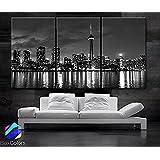 "TANDA Large 30""x 60"" 3 Panels 30""x20""Each Panel Ea Art Canvas Print Beautiful Toronto Canada Downtown City Skyline Black & White Wall Home"