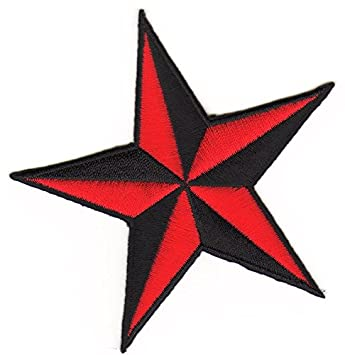 Nautischer Stern Patch Aufnäher rot-schwarz
