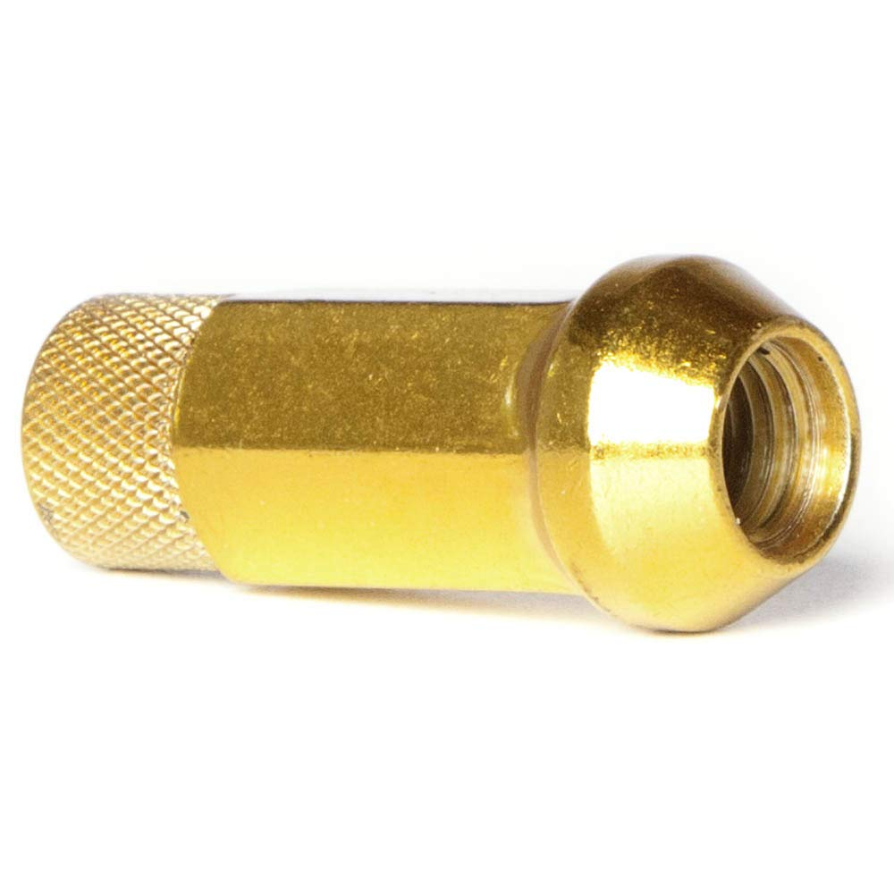 Circuit Performance Forged Steel Extended Open End Hex Lug Nut for Aftermarket Wheels: 12x1.25 Gold - 20 Piece Set + Tool by Circuit Performance (Image #3)