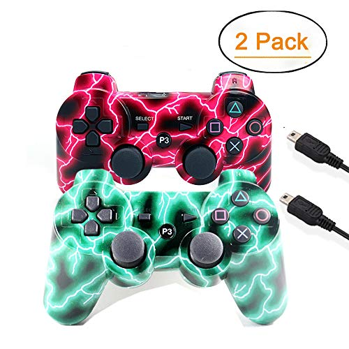 ([2 Pack] Wireless Double Vibration Game Controller Bluetooth Sixaxis Gamepad Remote for PS3 Playstation 3 [Gift 2 Charging-Cable] (Red Green))
