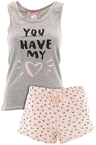 Love Loungewear Juniors You Have My Heart Gray Shorty Valentines Pajamas M