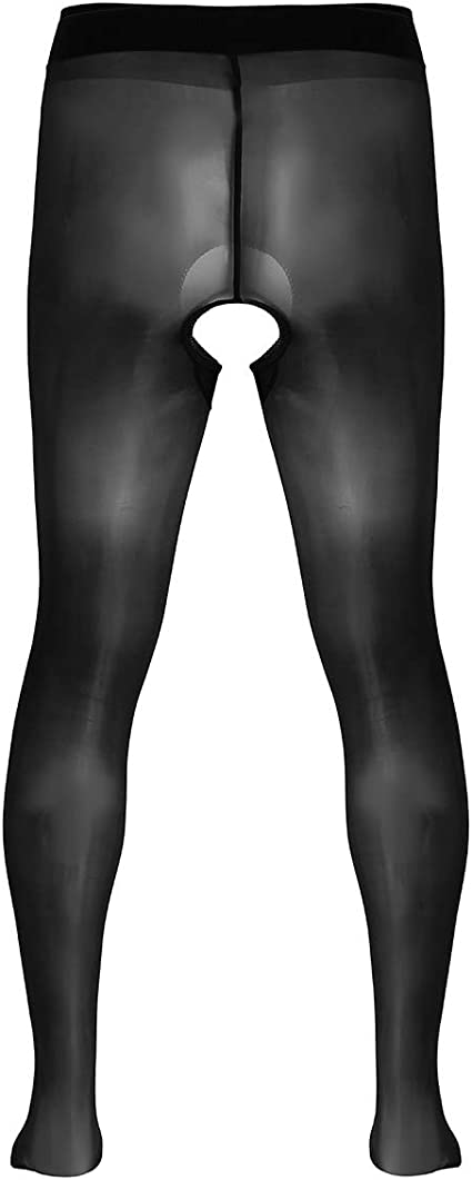 Alvivi Mens Ice Silk Sissy Lace Close Toes Pantyhose Stockings Stretchy Leggins Long Pant Underwear