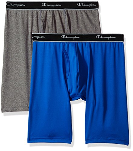 Champion Men's Tech Performance Long Boxer Brief, Velvet Evening/Dynamic Grey Heather, Large (Champion Flats)