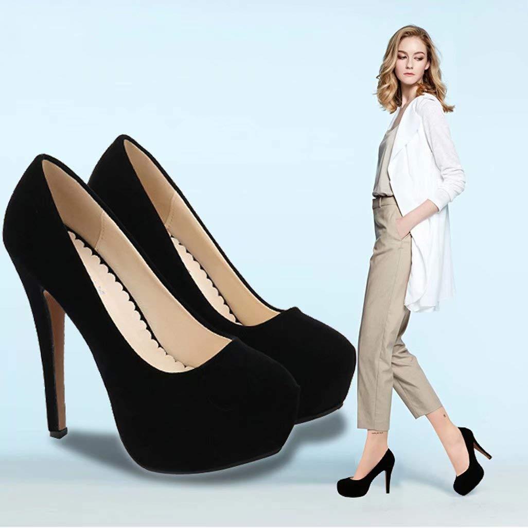 a25bac577c815 Amazon.com: Black Super High Heel Women's Shoes Waterproof Platform ...