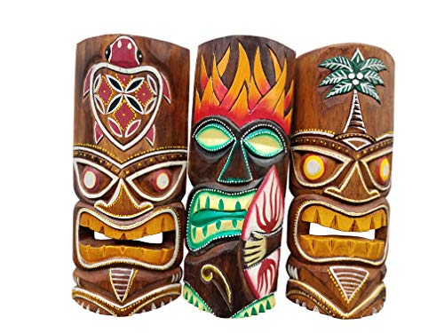 """All Seas Imports Set of (3) Wooden Handcarved 12"""" Tall Tiki Masks Tropical Wall Decor! from All Seas Imports"""