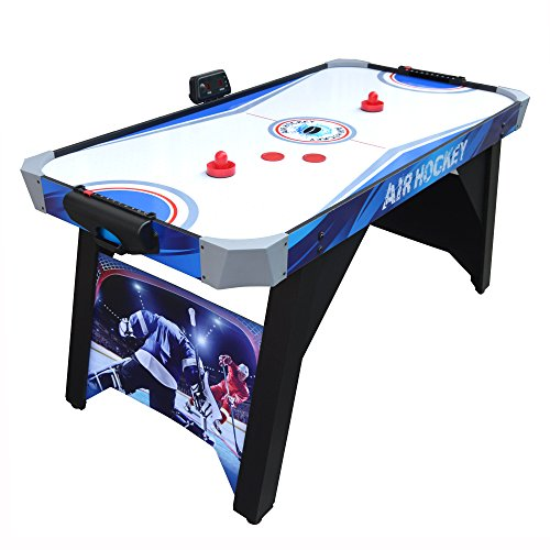 (Hathaway Warrior Air Hockey Table 5-ft for Kids and Family Game Rooms with Electronic Scoring – Blue/White)