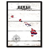 Hawaii State Flag Canvas Print, Black Picture Frame Gifts Home Decor Wall Art Decoration