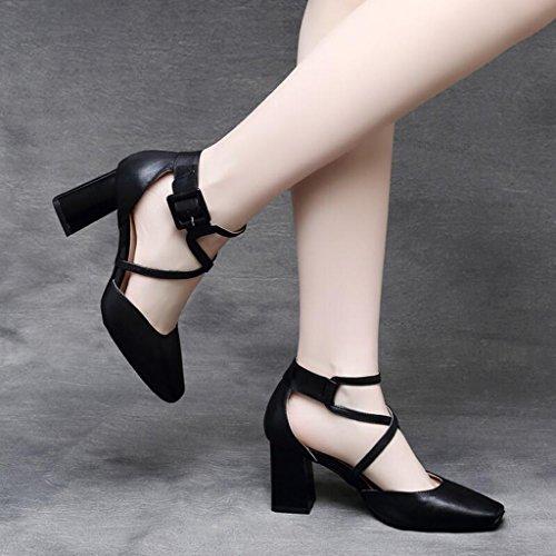 Jingsen Chaussures D'été Baotou Heels Femmes Chaussures Ceinture Boucle en Cuir Talon Chaussures Sandales Femme (Couleur : Black, Taille : 34) Black