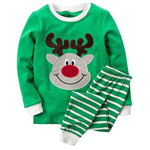 B.GKAKA Toddler Boys Pajamas Holiday Happy Reindeer Clothes Sets Size -