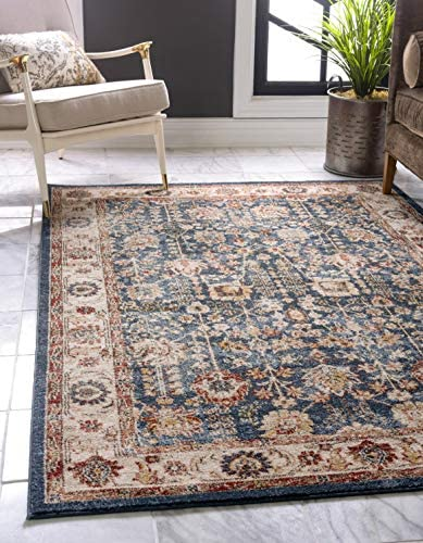 Unique Loom Utopia Collection Traditional Botanical Vintage Warm Tones Light Blue Area Rug 9 0 x 12 0